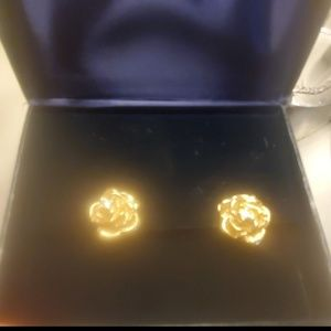 14K omega (clip on) rose and diamond earrings